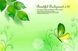 綠色蝴蝶背景素材