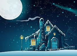 房子夜景矢量背景