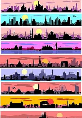 城市夜景矢量背景