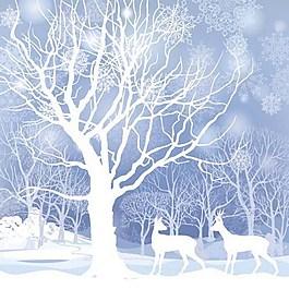 白色雪景背景素材