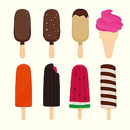 八種不同的冰淇淋插圖矢量素材