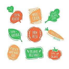 手繪生態食品貼紙圖標