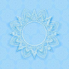 藍色曼陀羅裝飾花邊背景