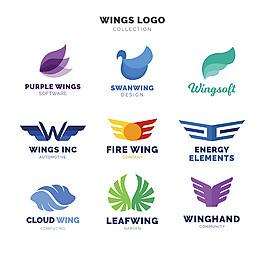 抽象翅膀標志logo矢量素材