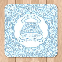 藍色曼陀羅花紋婚禮邀請卡