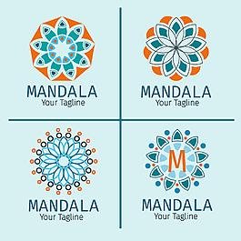 藍橙色曼陀羅標志集合