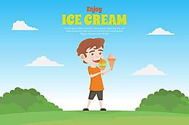 男孩吃冰淇淋風景背景