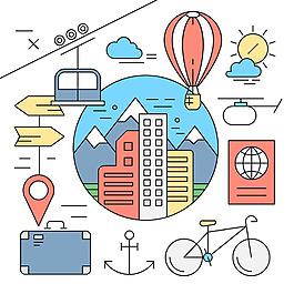 線性風格城市旅游元素矢量素材