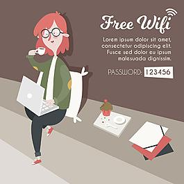 夢幻般的女人與筆記本電腦wifi區域背景
