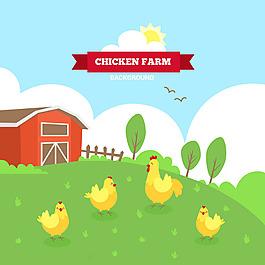 黃色母雞綠色農場背景