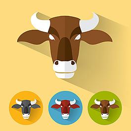 扁平風格牛頭插圖矢量素材