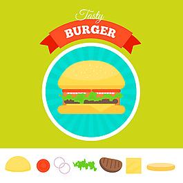 手繪漢堡插圖綠色背景