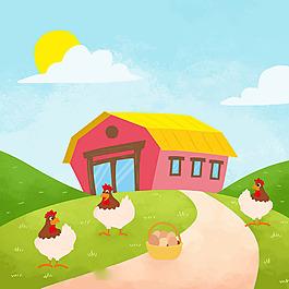 雞蛋和母雞綠色農場背景