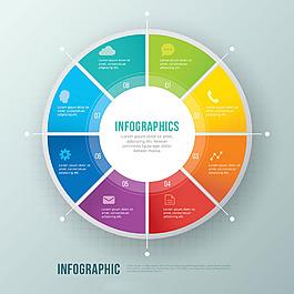 五彩圓形信息圖模板