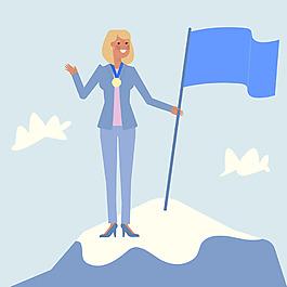 女商人角色山峰插圖背景