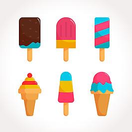 手繪彩色冰淇淋插圖矢量素材