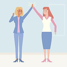 兩個女性商務人士擊掌慶祝插圖背景