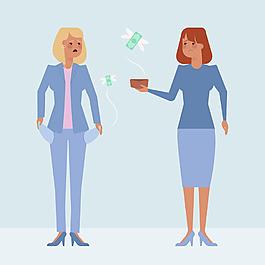 兩個女性商人角色插圖背景