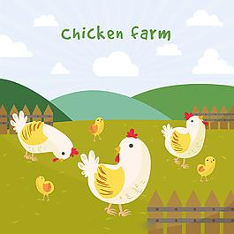 母雞和小雞綠色農場背景