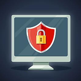 電腦與安全掛鎖背景