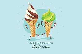 兩個可愛的冰淇淋卡通人物藍色背景