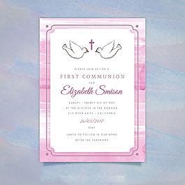 第一次圣餐裝飾花邊邀請卡