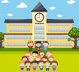 兒童人物學校建筑插圖背景