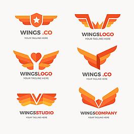 扁平風格橙色調翅膀標志