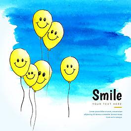 微笑的氣球人物表情藍色水彩背景