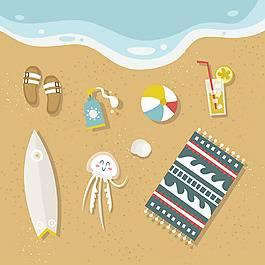可愛的夏季元素沙灘背景