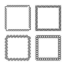 方形抽象裝飾花邊框架