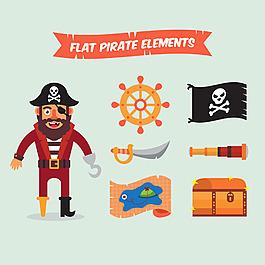 扁平風格海盜元素圖標素材