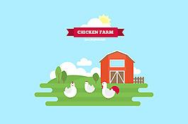 雞屋與雞綠色農場平面設計背景