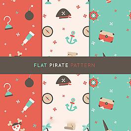 扁平風格海盜裝飾圖案背景