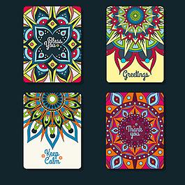 多色曼陀羅裝飾花紋賀卡設計