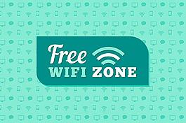 免費wifi區圖標綠色裝飾圖案背景