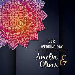 紫色曼陀羅花紋婚禮主題背景