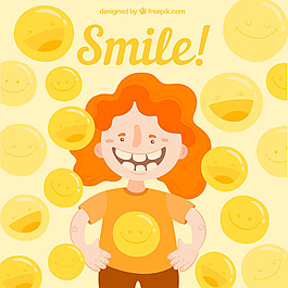 女孩快樂微笑黃色背景