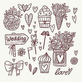 美麗的手繪線描風格婚禮元素插圖