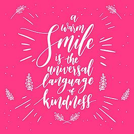微笑主題裝飾英文藝術字紅色背景
