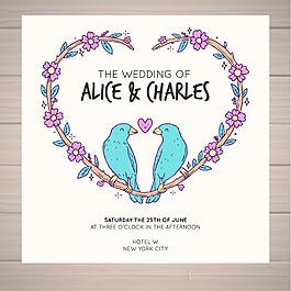 小鳥心形裝飾花邊婚禮主題設計背景