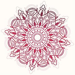 紅色曼陀羅對稱圖形裝飾花紋背景