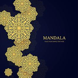 優雅的金色曼陀羅花紋圖案背景