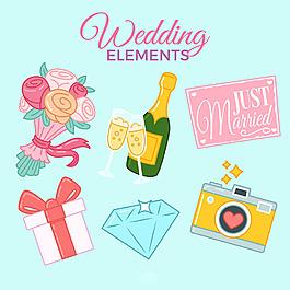 美麗的婚禮主題元素插圖圖標