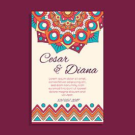 多色曼陀羅裝飾花紋婚禮卡