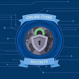 電腦網絡安全圖標電路線藍色背景