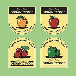 復古風格水果蔬菜有機食品貼紙圖標