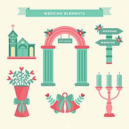 扁平風格藍色粉紅色浪漫婚禮元素矢量素材