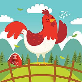 手繪公雞打鳴藍天白云綠色風景背景