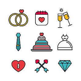 手繪線描風格彩色婚禮元素平面設計素材